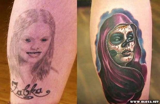 antes e depois de corrigir uma tatuagem