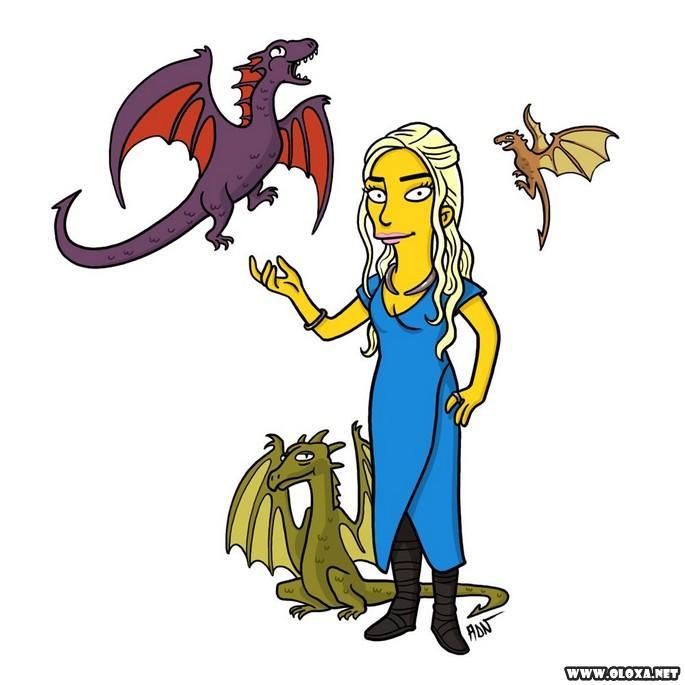 Personagens de Game Of Thrones estilo Os Simpsons
