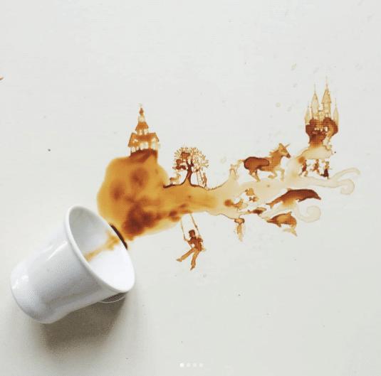 Veja o artista que transforma café derramando em imagens fantásticas