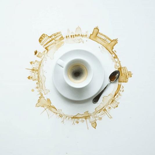 Veja o artista que transforma café derramando em imagens fantásticas 8